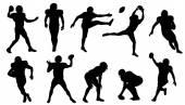 Football silhouettes — Stock Vector