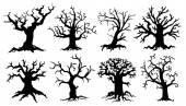 Scary tree silhouettes — Stock Vector