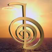 Reiki symbols for relaxation, and meditation on the sea and sun background — Stock Photo