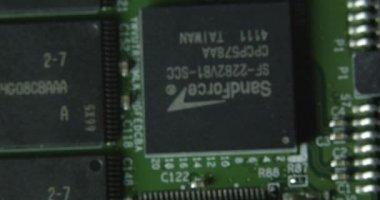 Микрочип электроники макрос. — Стоковое видео