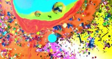色の滴のオイルでフローティングと油絵効果を持つカラフルな地下に水します。撮影赤 — ストックビデオ