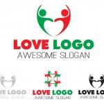 Couples team heart logo design, vector file easy to edit. — Stock Vector #78378676