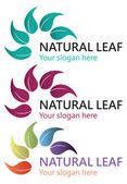 Natural leaf logo design isolated on white background. — Stock Vector
