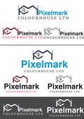 Логотип компании печати Cmyk Pixelmark дом — Cтоковый вектор