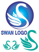 Colorful swan logo isolate white background. — Stock Vector