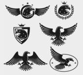 Zestaw orły — Wektor stockowy