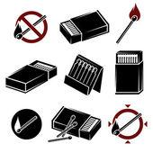 Matches, matchbox set — Stock Vector