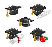 Graduation cap set — Stock Vector