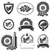 Sunflower seeds label and elements set — Stock Vector