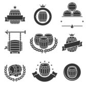 Barrels label collection set. — Stock Vector