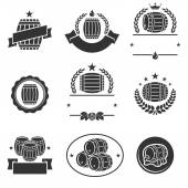 Barrels label collection set. — Stock Vector