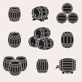 Black Barrels set — Stock Vector