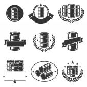 Oil barrel label collection set. — Stock Vector