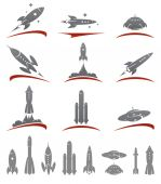 Rockets collection set — Stock Vector