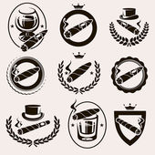 Cigars label and icons set — Stock Vector