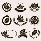 Tobacco leaf label and icons set — Stock Vector