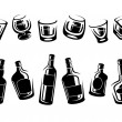 Black alcoholic glass collection — Stock Vector #72954931