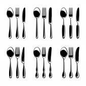 Black Cutlery set — Vector de stock