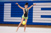 Rhythmic gymnastics — Stock Photo