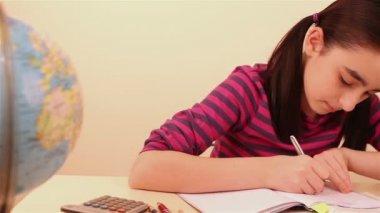 Schoolgirl doing her math homework — Stock Video