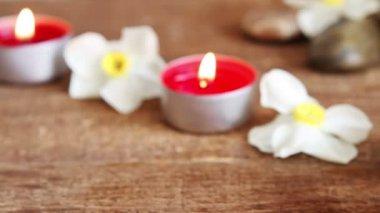 Close-up of spa salt scrub, massage oil and candles — Vídeo de stock