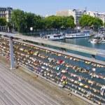 Love padlocks on the Pont des Arts. Paris. France. — Stock Photo #52686079