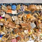 Love padlocks on the Pont des Arts. Paris. France. — Stock Photo #52686123