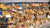 Love padlocks on the Pont des Arts. Paris. France. — Stock Photo