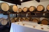 Oak casks and wine glasses — Stock Photo