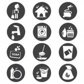 Cleaning icon set vector illustration — Stock Vector