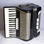 Black vintage accordion — Stock Photo
