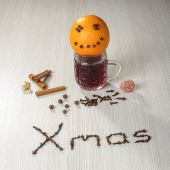 Christmas hot wine still life — Stockfoto