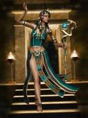 Fantasy Egyptian girl with a cobra staff — Stock Photo