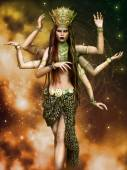 Fantasy goddess with six arms — Stock Photo