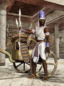Ancient Egyptian warrior with a chariot — Stock Photo
