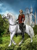 Fantasy prince on a horse — Stock Photo