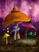 Colorful fantasy mushrooms with lanterns — Stock Photo