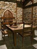 Interior of a medieval watchtower — Stock Photo