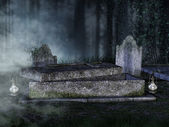 Opened tomb in a graveyard — Stock Photo