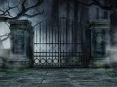 Graveyard gate with trees — Stock Photo