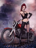 Punk girl with a motorbike — Stock Photo