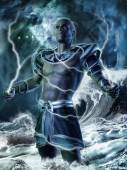 Fantasy god with lightning bolts — Stock Photo
