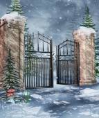 Garden gate in winter — Stock Photo