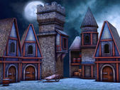 Fantasy cottages at night — Stock Photo