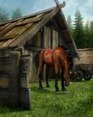 Old barn and a horse — Stock Photo