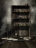 Old bookcase with magic potions — Stock Photo