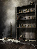 Old room with skulls — Stock Photo
