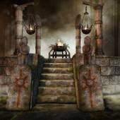 Fantasy shrine with burners — Stock Photo