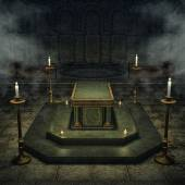 Fantasy crypt with candles — Stock Photo