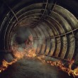 Fire in a tunnel — Stock Photo #71751753